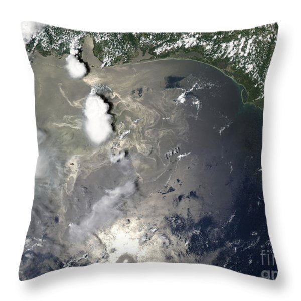 Oil Slick In The Gulf Of Mexico Throw Pillow by Stocktrek Images