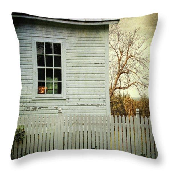 Old Farm  House Window Throw Pillow by Sandra Cunningham
