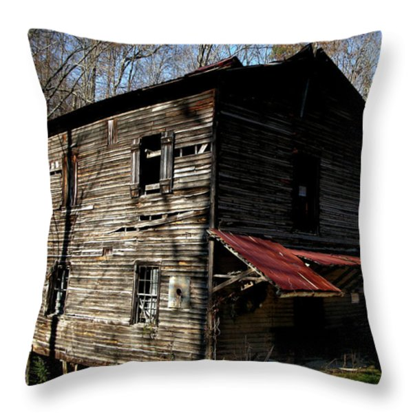 Old Grist Mill Throw Pillow by Paul Mashburn