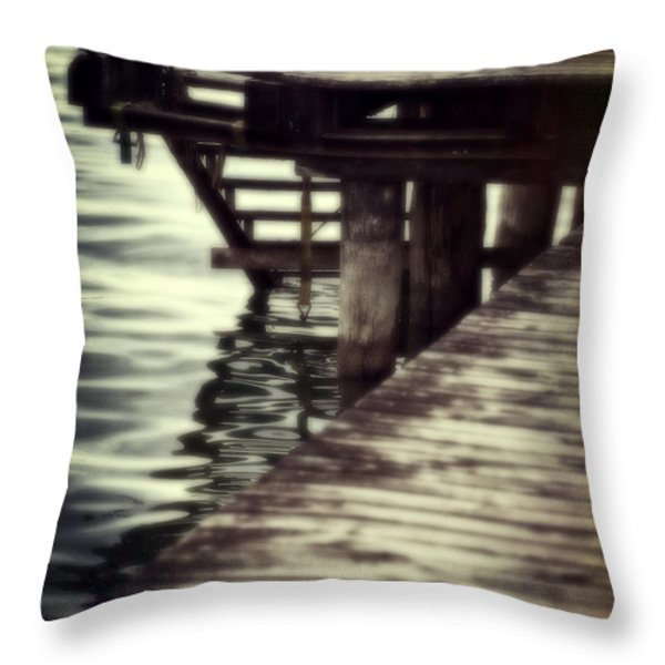 old wooden pier with stairs into the lake Throw Pillow by Joana Kruse