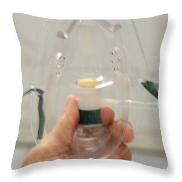 Oxygen Mask Throw Pillow by Photo Researchers, Inc.