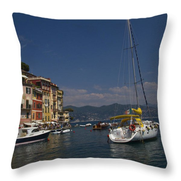 Portofino in the Italian Riviera in Liguria Italy Throw Pillow by David Smith