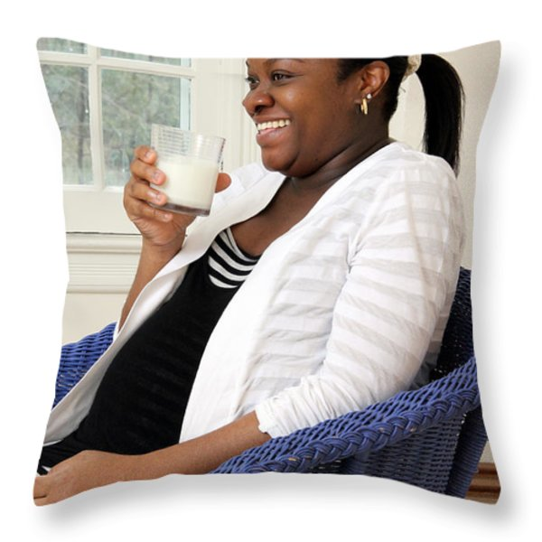 Pregnant Woman Drinking Milk Throw Pillow by Photo Researchers