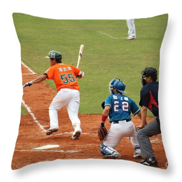 Professional Baseball Game In Taiwan Throw Pillow by Yali Shi