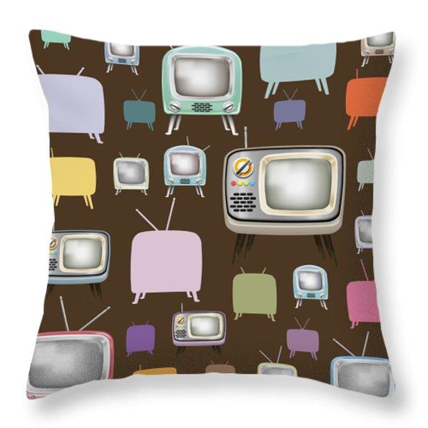 retro TV pattern  Throw Pillow by Setsiri Silapasuwanchai