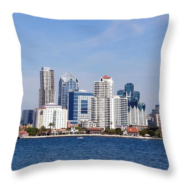 San Diego Skyline Throw Pillow by Jeff Lowe