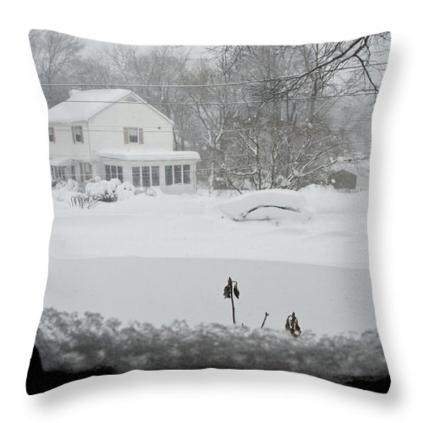 Snow Covers The Streets Throw Pillow by Stacy Gold