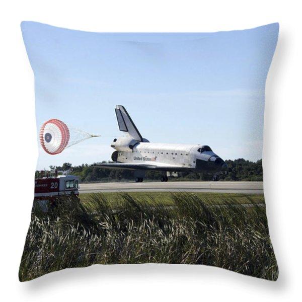 Space Shuttle Atlantis Unfurls Its Drag Throw Pillow by Stocktrek Images