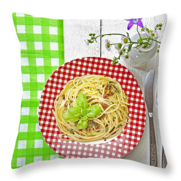 Spaghetti al Pesto Throw Pillow by Joana Kruse