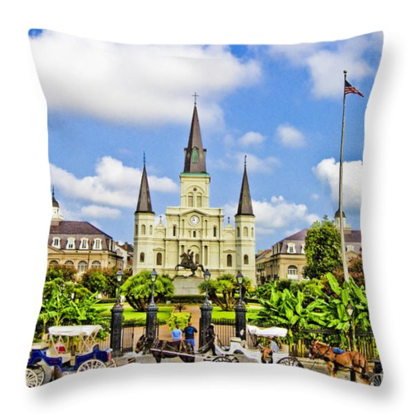 St. Louis Cathedral Throw Pillow by Scott Pellegrin