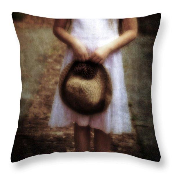 Straw Hat Throw Pillow by Joana Kruse