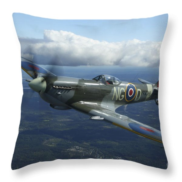 Supermarine Spitfire Mk.xvi Fighter Throw Pillow by Daniel Karlsson
