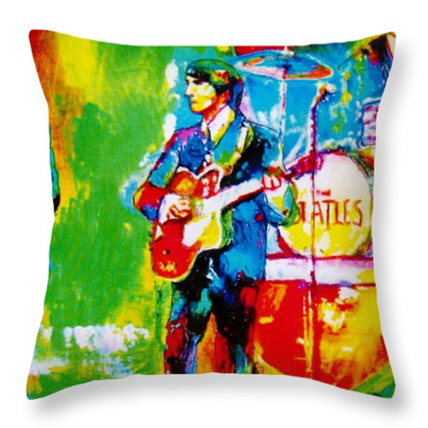 The Beatles Throw Pillow by Leland Castro