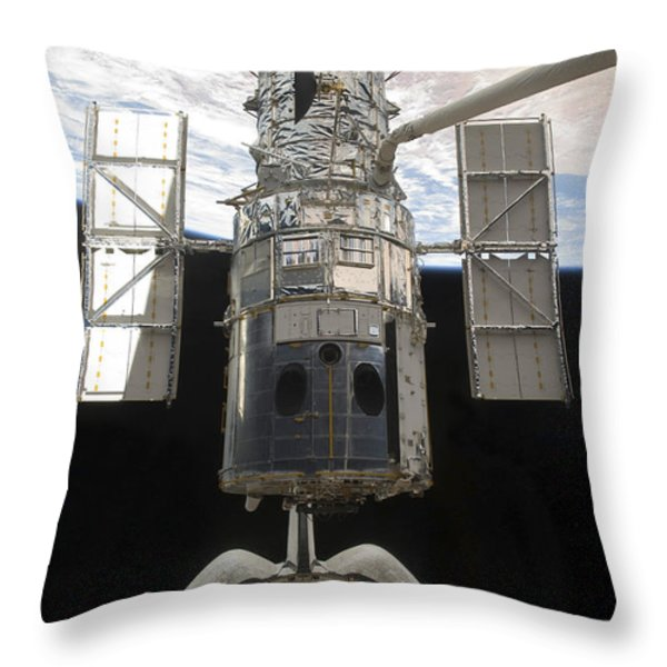The Hubble Space Telescope Is Released Throw Pillow by Stocktrek Images