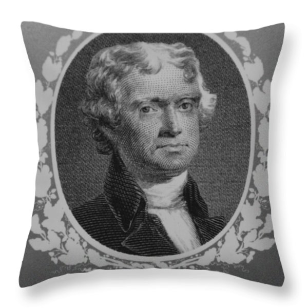Thomas Jefferson In Black And White Throw Pillow by Rob Hans