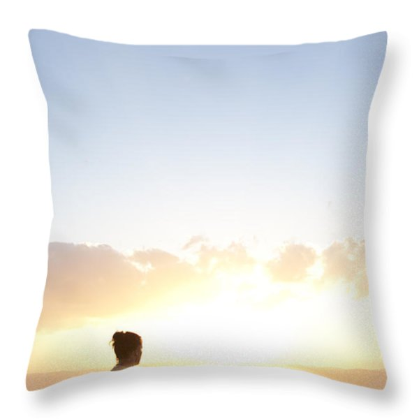 Two Friends Enjoy The Sunset Throw Pillow by Taylor S. Kennedy
