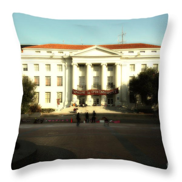 UC Berkeley . Sproul Hall . Sproul Plaza . Occupy UC Berkeley . 7D9994 Throw Pillow by Wingsdomain Art and Photography