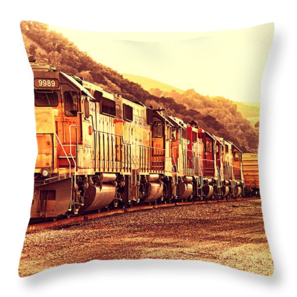 Union Pacific Locomotive Trains . 7d10563 Throw Pillow by Wingsdomain Art and Photography