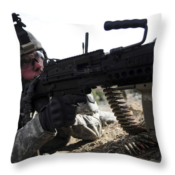 U.s. Army Soldier Provides Security Throw Pillow by Stocktrek Images