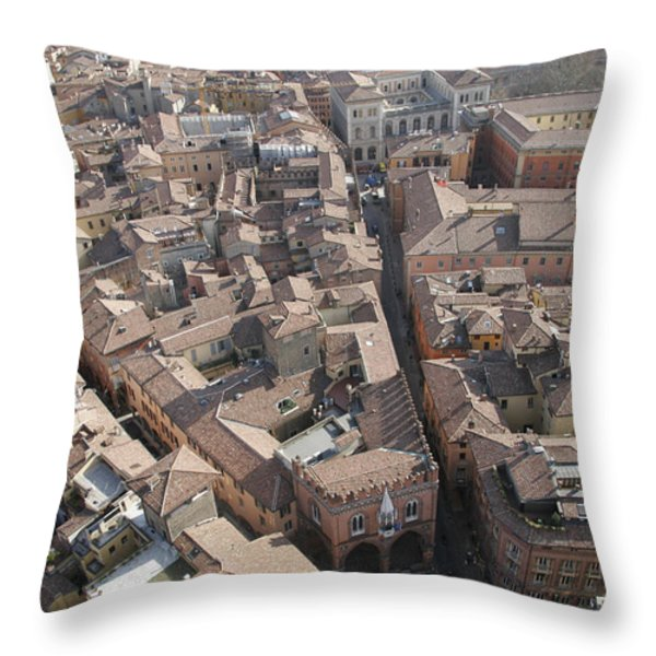 View Of Bologna From The Torre Degli Throw Pillow by Gina Martin