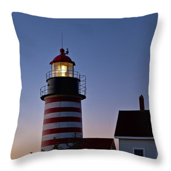 West Quoddy Head Lighthouse Throw Pillow by John Greim