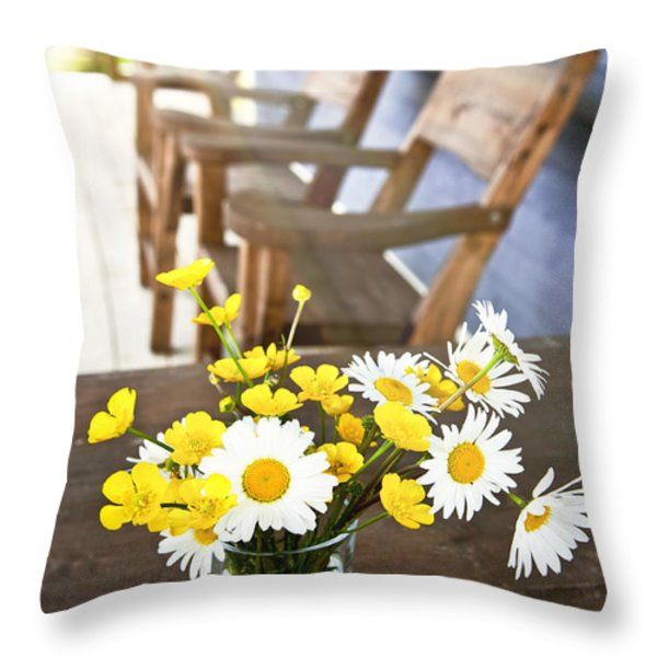 Wildflowers bouquet at cottage Throw Pillow by Elena Elisseeva