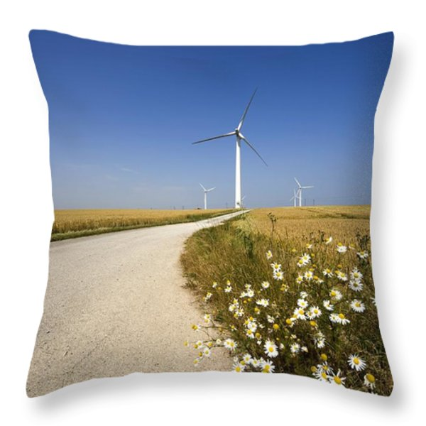 Wind Turbine, Humberside, England Throw Pillow by John Short