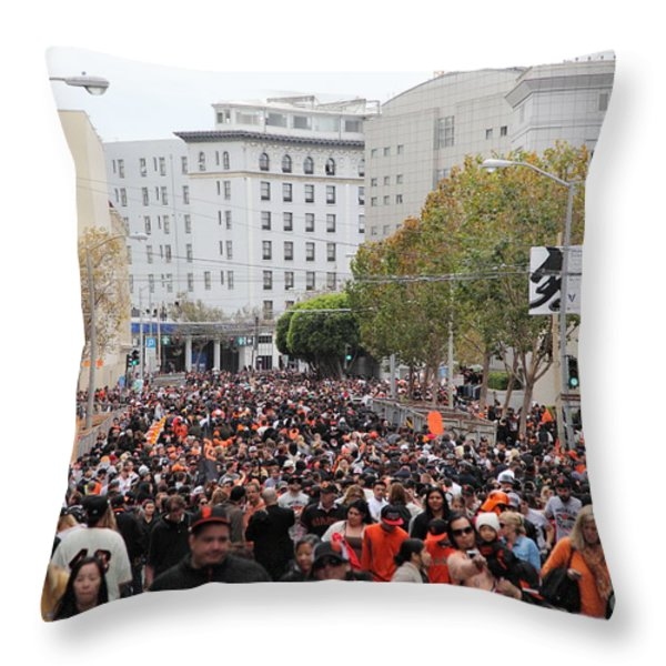2012 San Francisco Giants World Series Champions Parade Crowd - Dpp0001 Throw Pillow by Wingsdomain Art and Photography