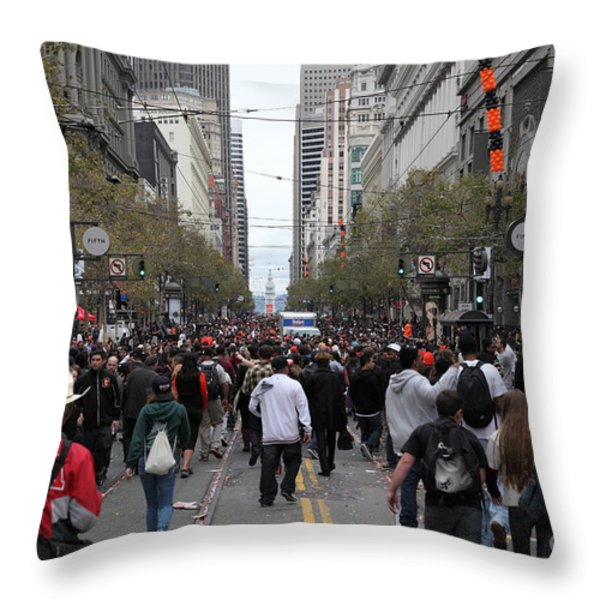 2012 San Francisco Giants World Series Champions Parade Crowd - DPP0002 Throw Pillow by Wingsdomain Art and Photography