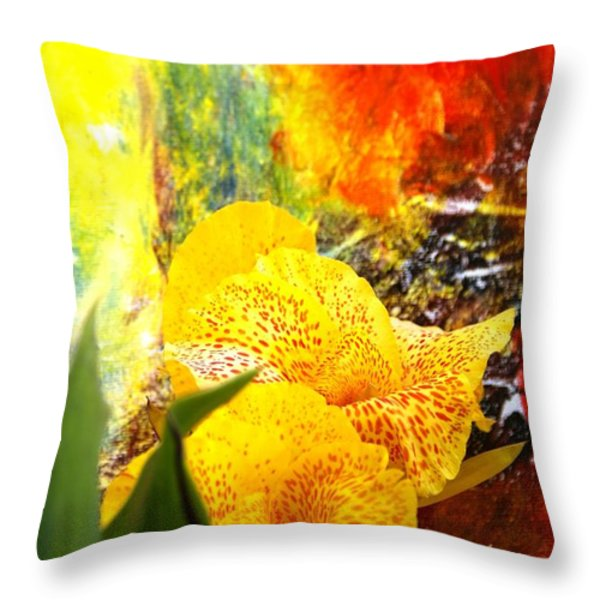 FLOWERS AND ART Throw Pillow by Geegee W