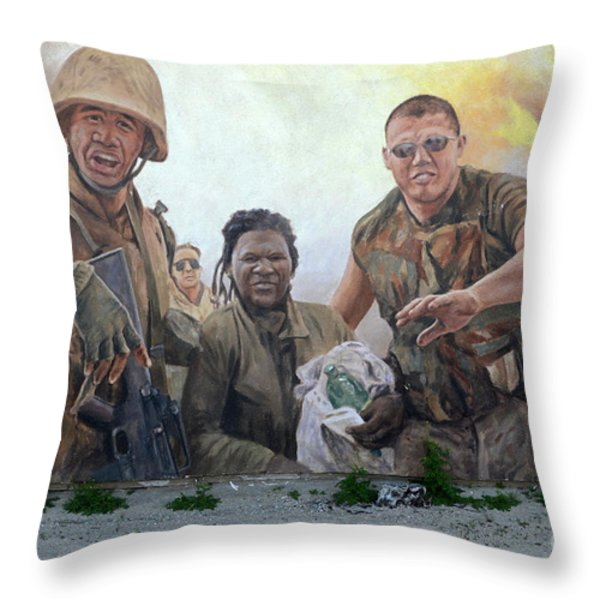 29 Palms Mural 2 Throw Pillow by Bob Christopher