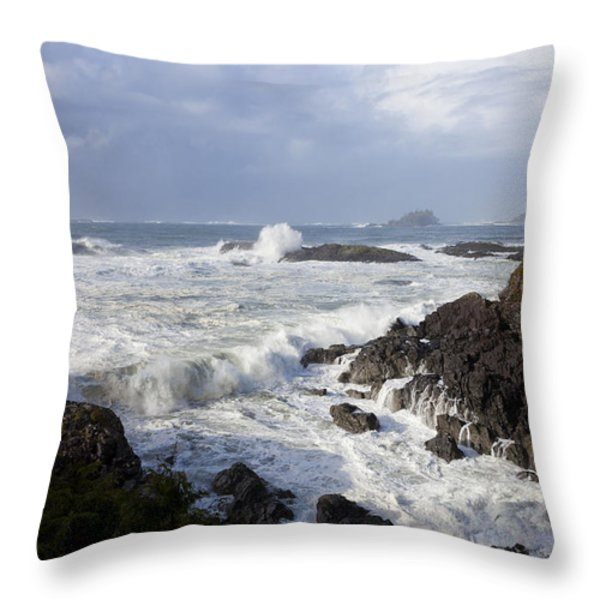 A Stormy Morning On The Wild West Coast Throw Pillow by Taylor S. Kennedy