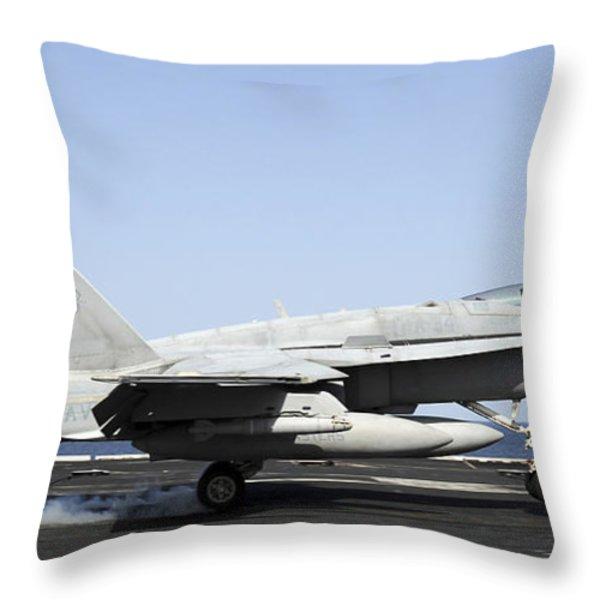 An Fa-18c Hornet Makes An Arrested Throw Pillow by Stocktrek Images
