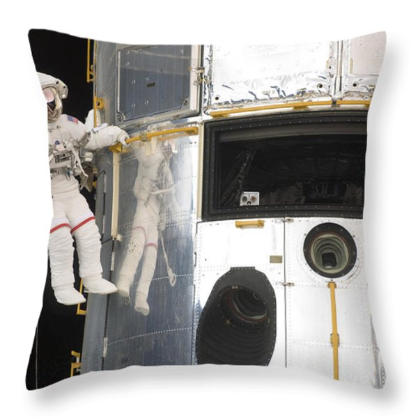 Astronauts Working On The Hubble Space Throw Pillow by Stocktrek Images