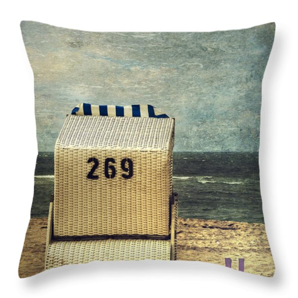 Beach Chair Throw Pillow by Joana Kruse