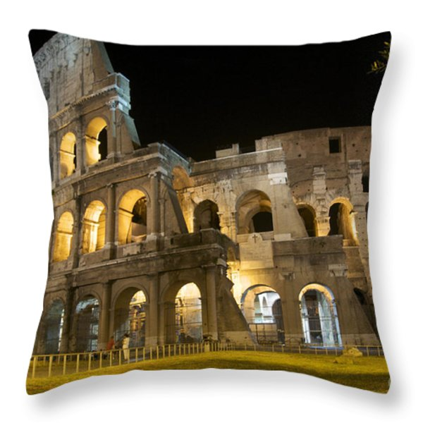 Coliseum illuminated at night. Rome Throw Pillow by BERNARD JAUBERT