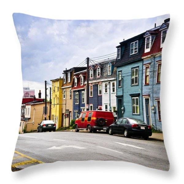 Colorful Houses In St. John's Newfoundland Throw Pillow by Elena Elisseeva
