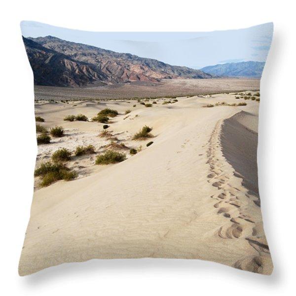 Death Valley National Park Mesquite Flat Sand Dunes Throw Pillow by Eva Kaufman