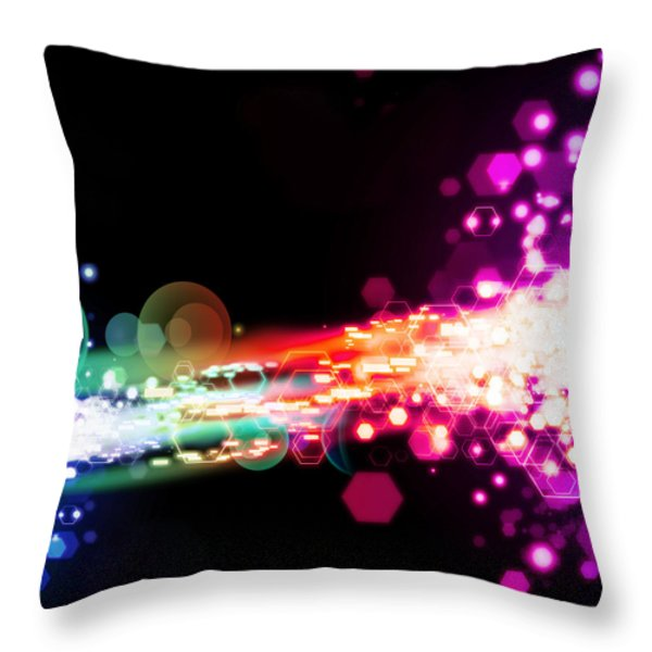 Explosion Of Lights Throw Pillow by Setsiri Silapasuwanchai