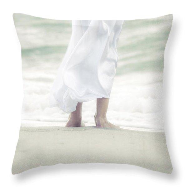 girl at the sea Throw Pillow by Joana Kruse