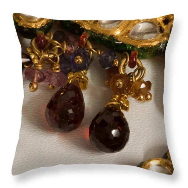 3 hanging semi-precious stones attached to a green and gold necklace Throw Pillow by Ashish Agarwal
