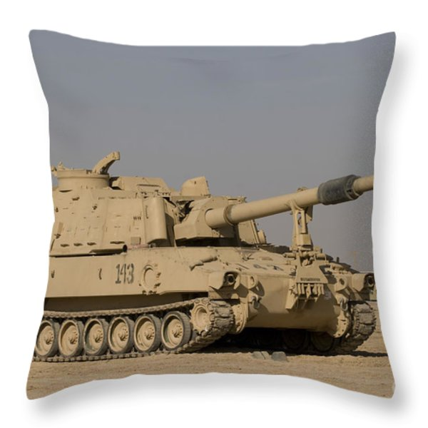 M109 Paladin, A Self-propelled 155mm Throw Pillow by Terry Moore