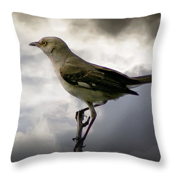 Mockingbird Throw Pillow by Brian Wallace