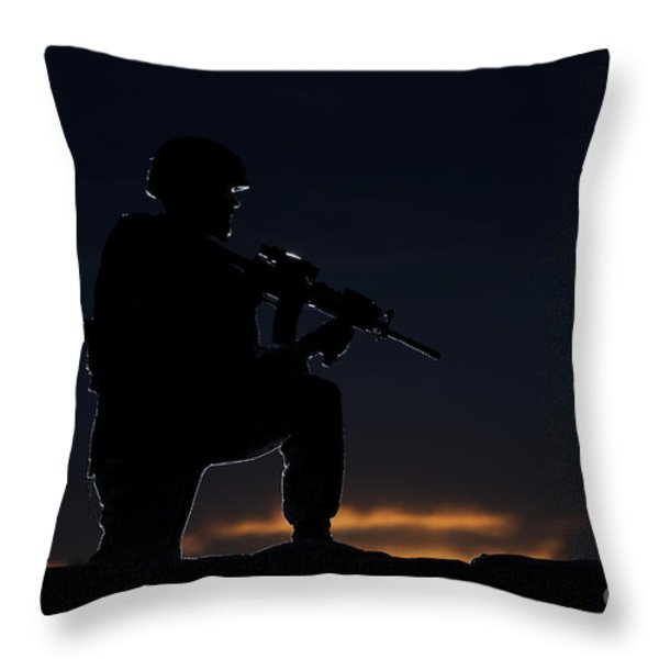 Partially Silhouetted U.s. Marine Throw Pillow by Terry Moore