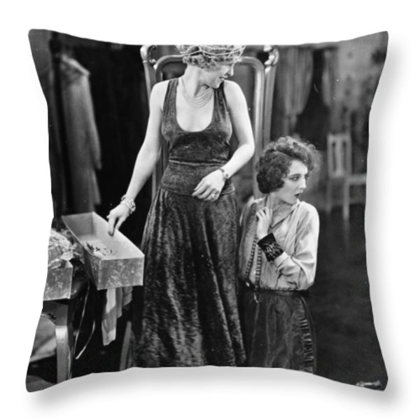Silent Film Still: Sewing Throw Pillow by Granger