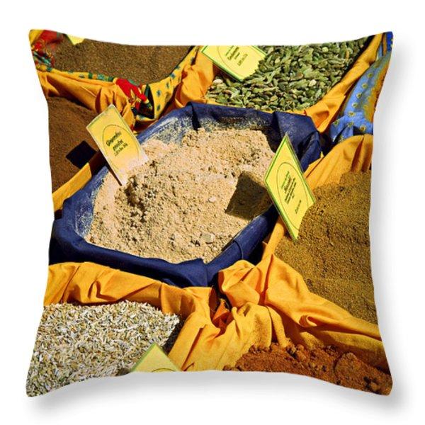 Spices On The Market Throw Pillow by Elena Elisseeva