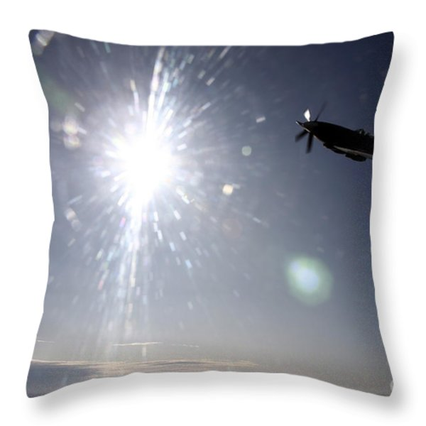 Supermarine Spitfire Mk. Xviii Fighter Throw Pillow by Daniel Karlsson