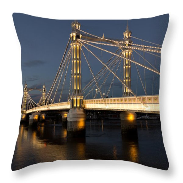 The Albert Bridge London Throw Pillow by David Pyatt