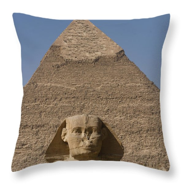 The Sphinx Stands In Front Of The Great Throw Pillow by Taylor S. Kennedy