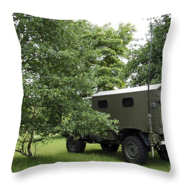 Unimog Truck Of The Belgian Army Throw Pillow by Luc De Jaeger